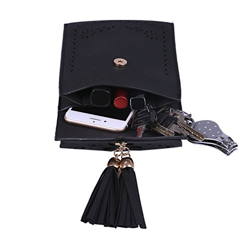 HDE Phone Leather Bags Small Travel Black Jet Vintage Wallet Crossbody Tassel Purse Pouch rrxFwqY