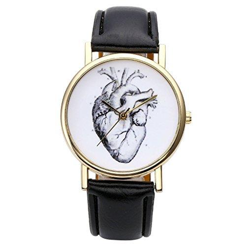 JSDDE Relojes de mujer, vintage, reloj de pulsera, dibujo organ, corazó