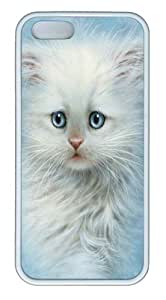 iPhone 5S Case,Fluffy White Kitten TPU Rubber Soft Case Back Cover for iPhone 5/5S White