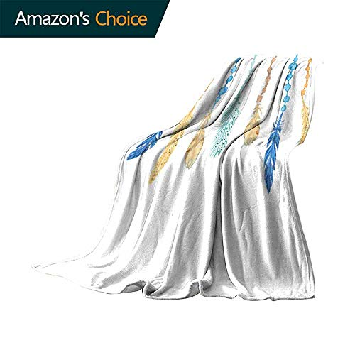 vanfan-home Feather Bed Blanket,Ethnic Multicolored Bird Feathers with Ornamental Tribal Elements for Bed & Couch Sofa Easy Care (90