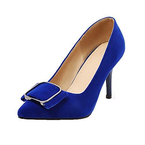 Talon Chaussures Pointu Bleu Couleur Légeres Femme Haut À Unie Tire Aalardom FPOwYq4