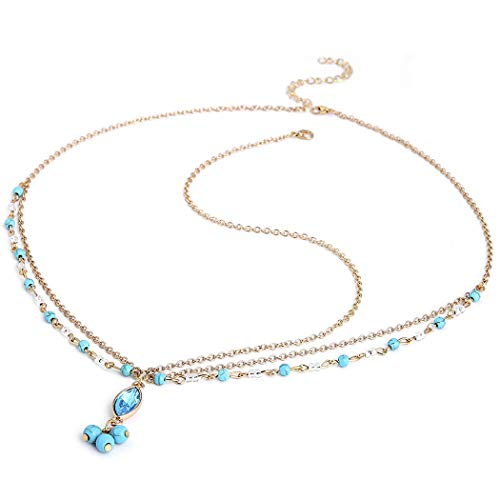 Aukmla Turquoise Head Chain Turquoise Beads Chain Boho Headchain Wedding Bridal Party Accessory Hair Jewelry for Women and Girls