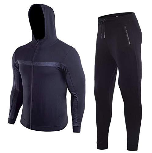 Zipper Tight-Drying Top Pants Tracksuit Men Fitness Long Sleeves Bodybuilding Coat