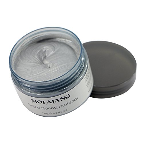 Ash Grey Instant Hair Color Wax, Qiyuxow Temporary Hair Dye Creme Coloring Material, Quick Dry Easy Wash for Daily use Festivals Parties Stag & Hen Events Clubbing Raves Halloween & Fancy dress