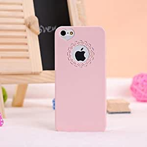 ZLXUSA (TM) Carving and Heard-shape Pattern Solid Color Hard Case for iPhone 5/5S Pink