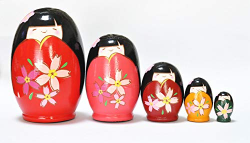 FinerMe Fine Work Russian Nesting Dolls Matryoshka Japanese Girl Wood Stacking Nested Set 5 Pieces Handmade Toys for Children Kids Christmas Birthday Home Decoration (Color E)