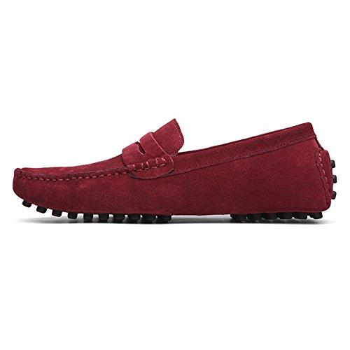 YAER Los del Barco Planos Gamuza Zapatos on Slip Premium Rojo Mocasines de de Hombres de Conducción Mocasín r6Zr4gAI