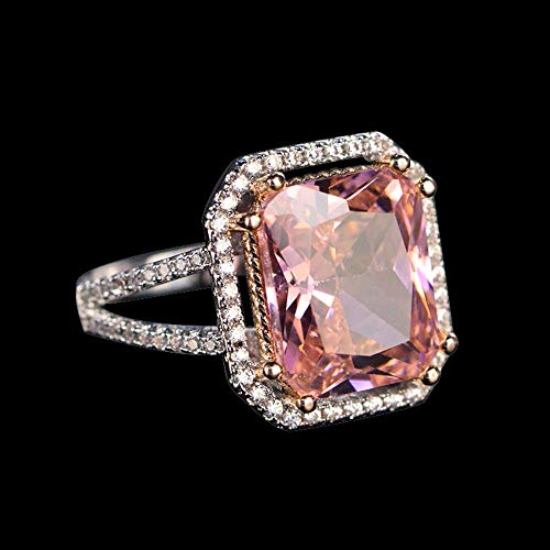 5 Ct Cushion Shape Pink Sapphire & Simulated Diamond Sterling Silver Halo Engagement Ring -