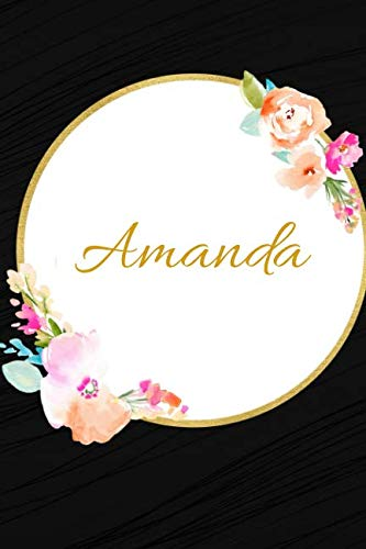 (Amanda: Customized Name Lined Journal Notebook Diary to Write In, Ruled Composition Planner, For Home Work Stationery, Great Gift for Girls Women, ... portable 6