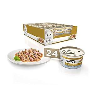Purina Gourmet Gold Doble Placer – Comida para Gatos Adultos de Pescado del Oceano, 85 g, Pack de 24 Unidades