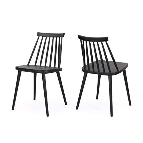 (Christopher Knight Home 308096 Phoebe Hume Farmhouse Spindle-Back Dining Chair (Set of 2), Black, 19.25 inches deep x 17.00 inches Wide x 30.25 inches high,)
