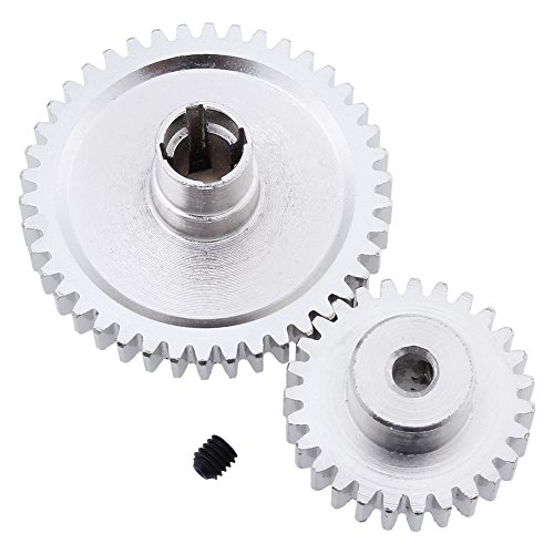 Hobbypark Metal Diff Differential Main Gear 42T & Motor Pinion Gear 27T Set For WLtoys A959-B A969-B A979-B K929-B 1/18 Scale RC Car Upgrade Parts (Sliver)