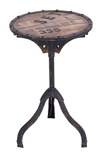 Aged Black Base - Deco 79 Industrial and Rustic Style Accent Table, Brown