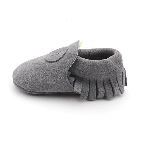 Liv & Leo Baby Boys Girls Moccasins Soft Sole Crib Shoes Slip-on 100% Leather (0-6 Months, Grey Suede)