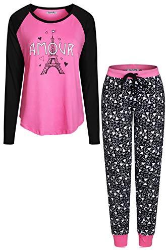 ed Long Sleeve Top wJogger Pants Pajama Set  M, Hot Pink Black Amour ()