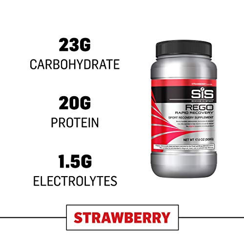 Science in Sport Rego Rapid Recovery Protein Shake Powder, Strawberry Flavor Post Workout Supplement Drink - 1.25 lb