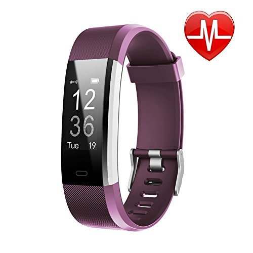 LETSCOM Fitness Tracker HR, Activity Tracker Watch with Heart Rate Monitor, Waterproof Smart Fitness Band with Step Counter, Calorie Counter, Pedometer Watch for Kids Women and Men, Purple