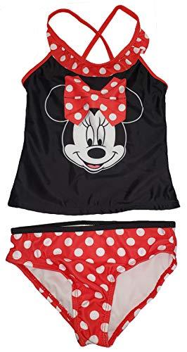 Girls Disney Minnie Mouse Polka Dot 2 Piece Tankini Swimsuit - Medium Black