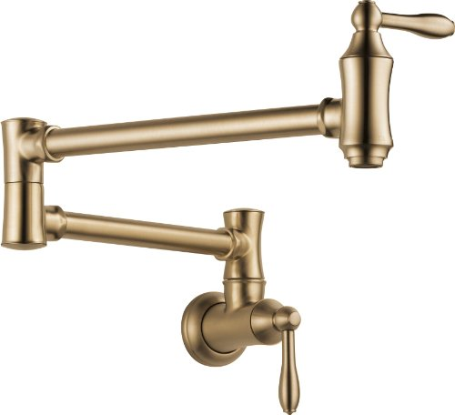 Delta Faucet Traditional Wall-Mount Pot Filler Faucet, Champagne Bronze 1177LF-CZ