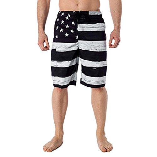- Pervobs Men Shorts, Summer Men Comfy American Flag Print Loose Elastic Waist Inspired Board Shorts Pants Trousers (M, Black)