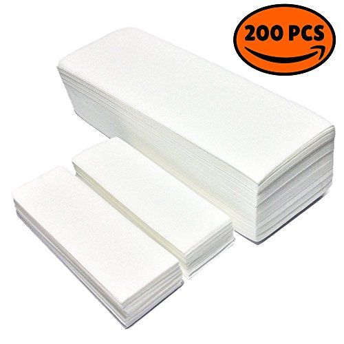 The Quality Non-Woven Wax Strips - Facial and Full Body Sizes Available, 200 Wax Strips (100 Small,100 Large)