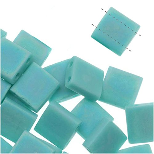 - Turquoise Green Ab Matte Tila Beads 7.2 Gram Tube By Miyuki Are a 2 Hole Flat Square Seed Bead 5x5mm 1.9mm Thick with .8mm Holes