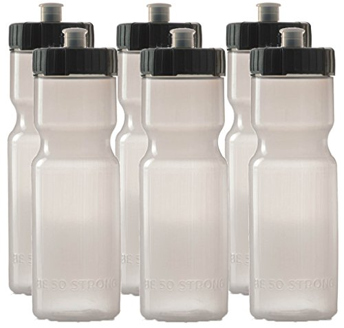 50 Strong Sports Squeeze Water Bottles - Set of 6 Bottles- Team Pack – 22 oz. BPA Free Plastic with Easy Open Push/Pull Cap – Made in USA by Multiple Colors Available (Clear/Black)