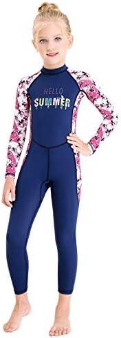 Gogokids Girls Swimsuit Kids Swimwear - Child Sunsuit Long Sleeves Children Bathing Suit Sun Protection UV 50+