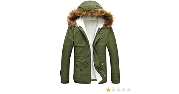 Winwinus Mens Warm Pocket Hooded Solid Zip Thickened Plus-Size Down Puffer