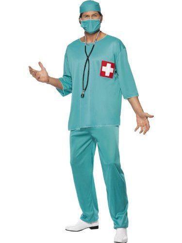 Er Surgeon Costumes (Scrubs Doctors & Nurses Scrubs Surgeon Scrub Nurse ER Fancy Dress Costume M L XL LARGE COSTUME & STETHOSCOPE by Star55)