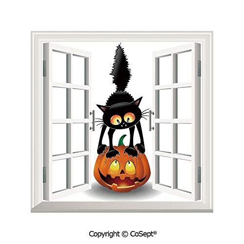 SCOXIXI Removable Wall Sticker,Black Cat on Pumpkin Spooky Cartoon Characters Halloween Humor Art,Window Sticker Can Decorate A Room(25.86x22.63 inch)