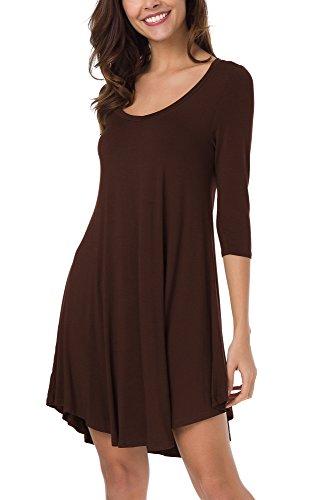 Coco Rum (Urban CoCo Women's 3/4 Sleeve Long Casual Loose T-Shirt Dress (M, Rum Raisin))