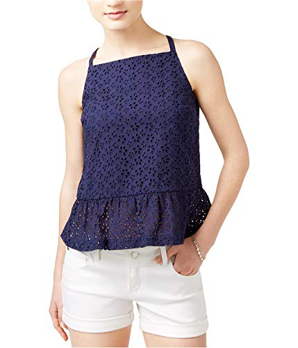 Greendog Maison Jules Womens Eyelet Peplum Blouse, Blue, X-Small