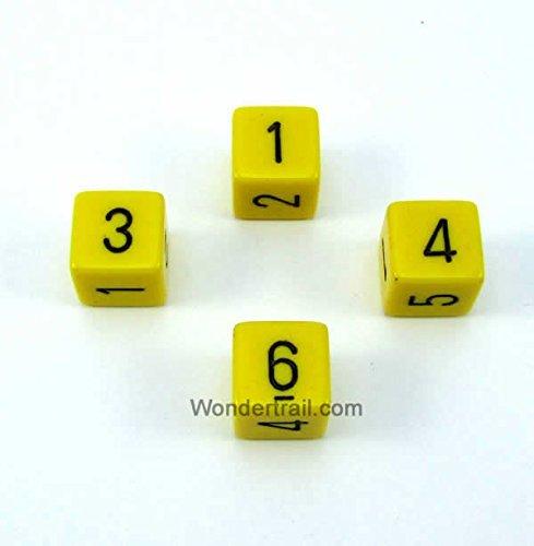 格安人気 WCXPQ0602E4 Yellow Pack Opaque WCXPQ0602E4 Dice with (5/8in) Black Numbers D6 Aprox 16mm (5/8in) Pack of 4 Dice Chessex B00VWXGOVI, shocora Lady:c5f90493 --- egreensolutions.ca