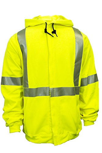 National Safety Apparel C21HC05C3MD Class 3 FR Hi-Vis Hooded Zip Front Sweatshirt, Medium, Fluorescent Yellow by National Safety Apparel Inc