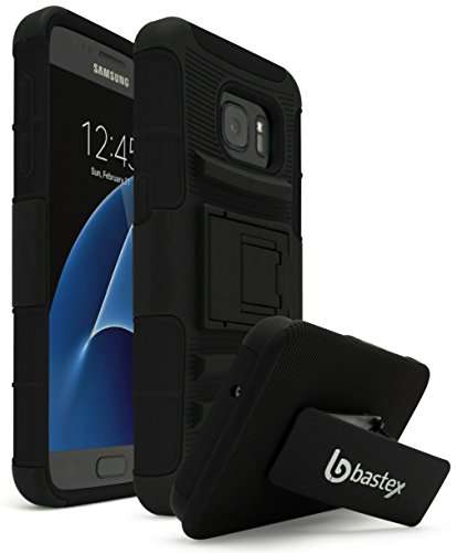 Galaxy S7 Case, Bastex Heavy Duty Hybrid Rubber Silicone Cover with Protective Kickstand Holster Belt Clip Case for Samsung Galaxy S7 (Black)