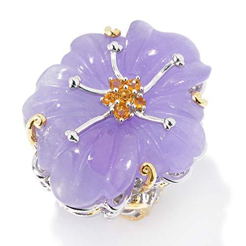 Michael Valitutti Palladium Silver Carved Lavender Burmese Jade & Citrine Flower Ring