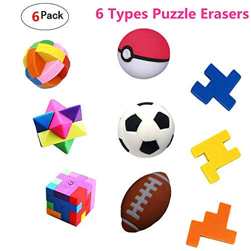 Bomach 6 Pack Puzzle Erasers,6 Types Colorful Puzzle Pencil Erasers for School Supplies,Party Favors,Games & Activities