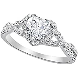Heart Shape Promise Ring For Her Sterling Silver Cubic Zirconia Valentine's Day gift