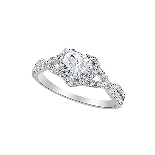 Heart Shape Promise Ring For Her Sterling Silver Cubic Zirconia - Clear (7)