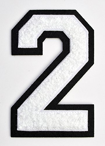 Varsity Number Patches - White Embroidered Chenille Letterman Patch - 4 1/2 inch Iron-On Numbers (White, Number 2 Patch) - Patches Varsity Jacket
