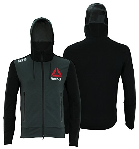 Reebok UFC Mens Full Zip Walkout Hoodie (Grey Front/Black Back, X-Small)