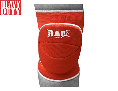 RAD One Pair Polycotton Nonslip Elastic Fiber Knee Pads Protector Sports Volleyball Football Gym (Red, Senior) -