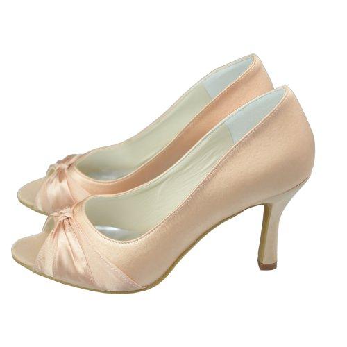 sandalias Satén fiesta de GYAYL002 Minitoo Champagne boda Stiletto Toe abierto tacón de alto zapatos Womens noche nupcial Bowknot awzwqg8