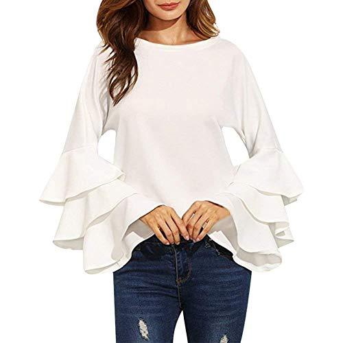 Col Shirt Noir Rond Mode Chemise Tops Slim Volants Printemps Festive Femme Fit Trompette Blanc Automne Moderne Unicolore lgant Manches Casual Haut Tunique Style Blouse OpFqxw