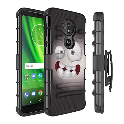 Moriko Case Compatible with Moto G6 Play, Moto G6 Forge [Armor Layer Drop Protection Shockproof Kickstand Holster Combo Black Case] for Motorola Moto G Play 6th Gen - (Smiley -