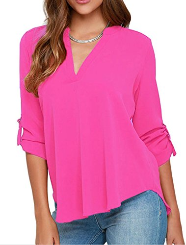 Elady Sexy Loose Fitting Chiffon Blouse Top For Women V Neck Shirt Pink (M) (Crochet Halter Pattern)