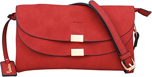 B BRENTANO Vegan Fashion Double-Flap Wristlet Clutch Crossbody Handbag (Red) Double Flap Handbag
