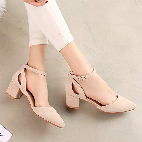 Thick Apricot Heels And Shallow With Female heels Female Single Pointed Shoes Pink Yukun 40 Versatile High Mouth Seasons Buckle U6WY1ZqUR
