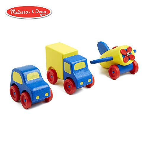 Melissa & Doug Deluxe Wooden First Vehicles Set With Truck, Car, and Airplane